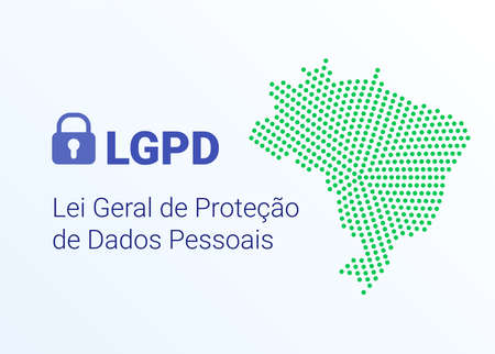 LGPD - Brazilian Data Protection Authority DPA, rights under the Lei Geral de Prote o de Dados - Spanish . Vector background with lock and map of Brazil 矢量图像