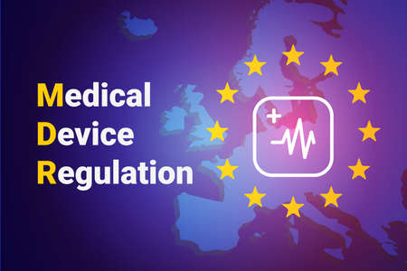 MDR - Medical Device Regulation. Regulation of the EU- European Union on the clinical investigation and sale of medical devices for human use. Vector illustration Vecteurs