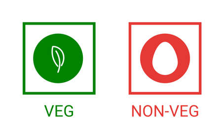 Veg, non-veg - Vegetarian and non-vegetarian marks in India, Sri Lanka, Pakistan. Green sign for packaged food and toothpaste products. Vector food icon symbol Vektorové ilustrace