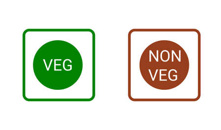 Veg, non-veg - Vegetarian and non-vegetarian marks in India, Sri Lanka, Pakistan. Green sign for packaged food and toothpaste products. Vector food icon symbol