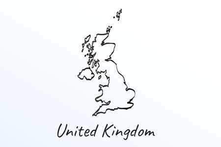 Hand draw map of United Kingdom. Black line drawing sketch. outline doodle on white background. handwriting script name of the country. vector illustration backdrop