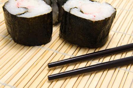 tekka: chopsticks and sushi on bamboo tray Stock Photo
