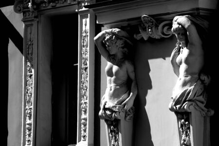 caryatids: elements of buildings, Moscow, Russia