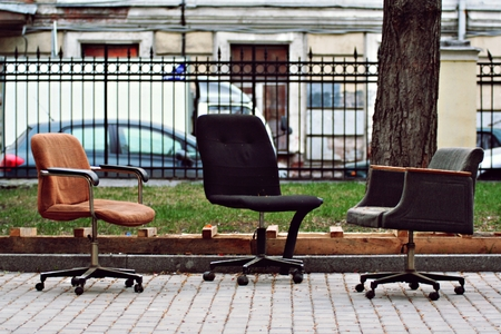 rummage: three old chairs in the park Stock Photo