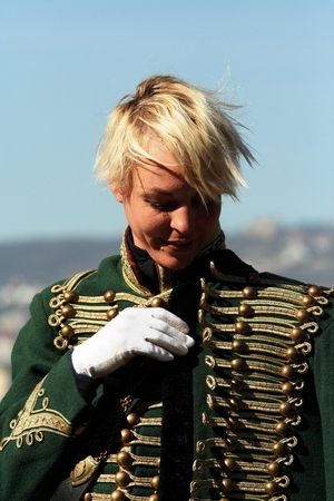 hussar: beautiful woman dressed as a hussar, Budapest, Hungary, 03.21.14
