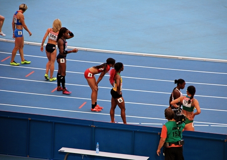 world championships: champion Shelly-Ann Fraser-Pryce before the start, XIV IAAF World Championships, Moscow, 2013