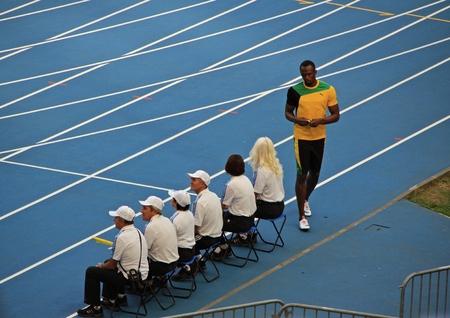 world championships: Usain St. Leo Bolt standing on a treadmill, XIV IAAF World Championships, Moscow, 2013
