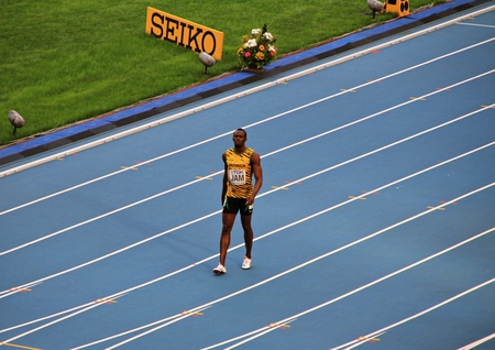 world championships: Usain St. Leo Bolt walking on a treadmill, XIV IAAF World Championships, Moscow, 2013