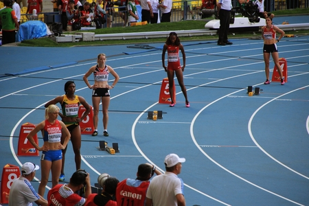 world championships: Group of athletes on the start, XIV IAAF World Championships, Moscow, 2013