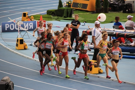 world championships: Group of athletes running, XIV IAAF World Championships, Moscow, 2013 Editorial