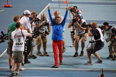 world championships: champion E. Isinbayeva and paparazzi, XIV IAAF World Championships, Moscow, 2013