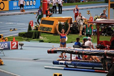 world championships: champion E. Isinbayeva after jumping, XIV IAAF World Championships, Moscow, 2013