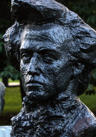 Monuments of famous people. Chopins bust in the Moscow park, Russia, August 18, 2017.