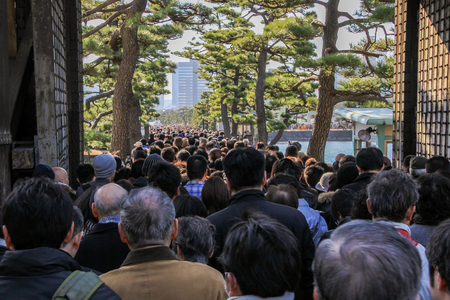 2013.01.02, Tokyo, Japan. Crowd line on New Years Day. Congratulations of Emperor of Japan.