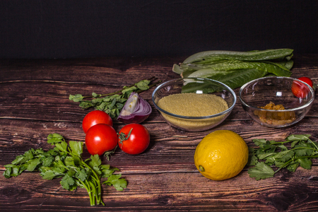 Ingredients for cooking Tabbouleh - Levantine vegetarian salad. Traditionally food of the Arabic world.