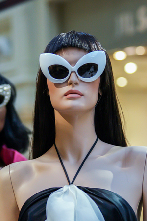 2010.04.03, Moscow, Russia. Models of woman sunglasses in the store. Summer fashion.