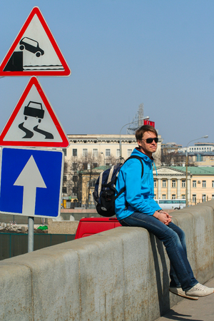 2010.04.11, Moscow, Russia. A young man wearing sunglasses