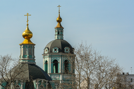 2010.04.11, Moscow, Russia. Domes of church on spring sky.