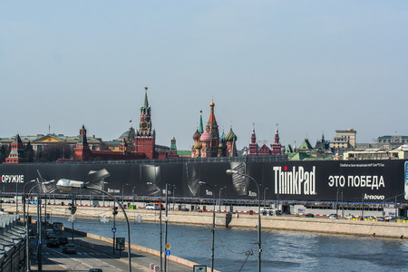 2010.04.11, Moscow, Russia. Cityscape of Kremlin and river at spring. Construction site by the Kremlin. Editorial