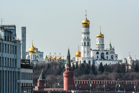 2010.04.11, Moscow, Russia. Cityscape of Moscow Kremlin and other architecture. Architecture complex on the territory of Moscow Kremlin.