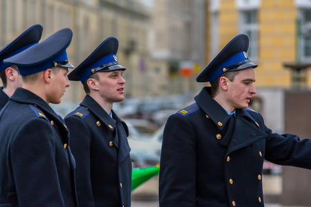 2010.04.18, Moscow, Russia. Shot on the street. Cadets walking around Moscow.