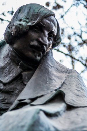 2010.04.18, Moscow, Russia. Monument to famous Russian writer NV Gogol close up.