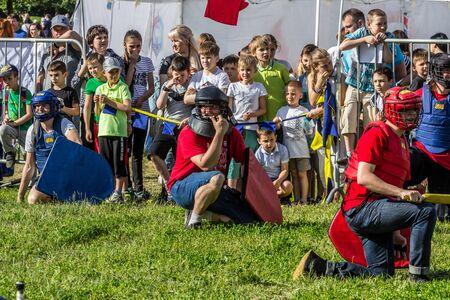 2019.06.01, Mosca, Russia. I partecipanti al gioco Intrattenimento nella Giornata della protezione dei bambini.