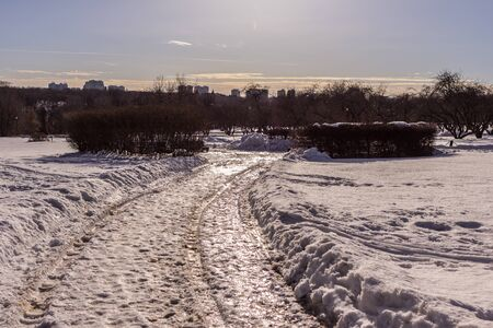 Winter landscape with ice road shining brightly from the sun in the Moscow park. Travel around Russia in the cold season.