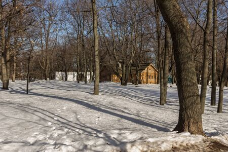 Winter cityscape of old buildings in the Moscow park. Travel around Russia.
