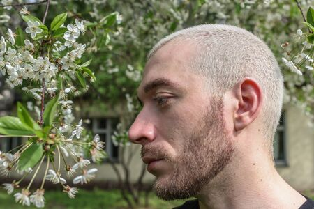 05/08/2019, Moscow, Russia. A young bearded man walking around Kolomenskoye park. Portrait of an young blonde guy in profile standing by flowering tree.