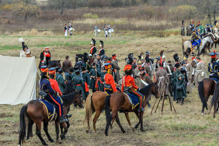 10.21.2012, Maloyaroslavets, Russia. production reconstruction of the battle of 1812 between the French and Russian armies by enthusiast forces.