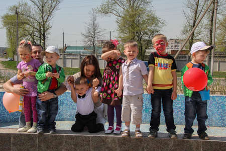 04/29/2012, Maloyaroslavets, Russia. Group portrait of little boys and girls on Birthday party. Editorial