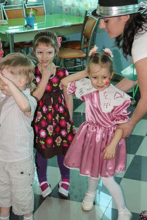 04/29/2012, Maloyaroslavets, Russia. Group of kids at the birthday party. Children having fun.