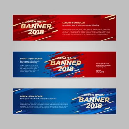 Modello web banner disegno vettoriale per evento sportivo, tendenza 2018