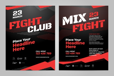 Vector layout design template for fight event or other sport event.
