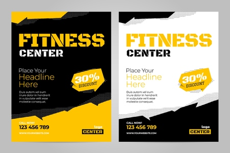 Vector layout design template for fitness center or other sport event.