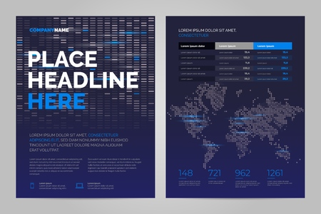 Brochure Layout template in techno style, cover design background. Can be adapt to Annual Report, Magazine, Poster, Corporate Presentation.