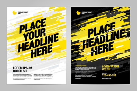 Yellow Flyer design sports invitation template. Can be adapt to Brochure, Annual Report, Magazine, Poster. Illustration