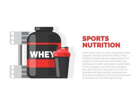 スポーツ栄養。フィットネス。白い背景に分離されたベクターイラスト。