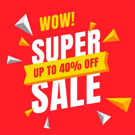 Sale Red banner template design, Big sale special offer. end of season special offer banner. vector illustration.