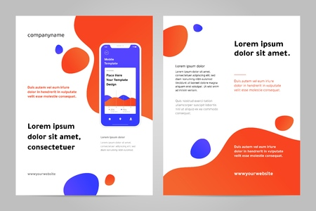 Layout template design with Mobile application. Business brochure flyer design layout. Stock Illustratie