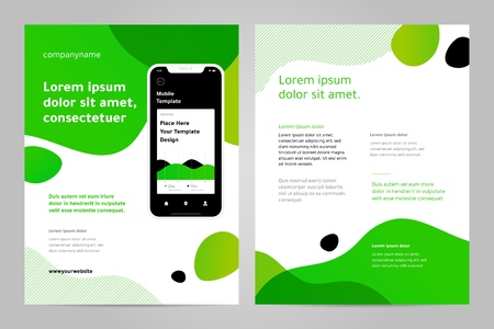 Layout template design with Mobile application. Business brochure flyer design layout.  イラスト・ベクター素材
