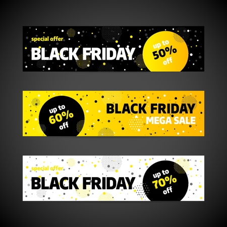 Black Friday sale banner template design. Special offer. Vector illustration.