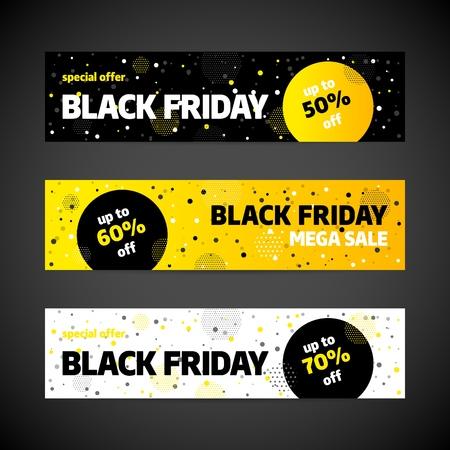 Diseño de plantilla de banner de venta de viernes negro. Oferta especial. Ilustración vectorial.