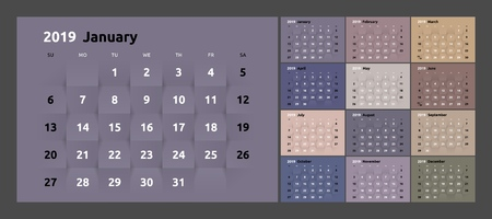Year 2019 calendar on white abstract texture. Vector background 3d paper art style. Week Starts Sunday.