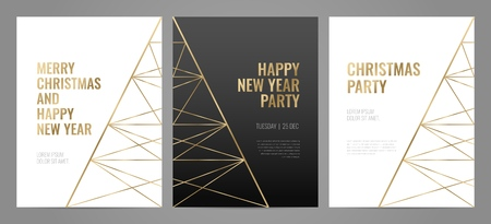 Luxury christmas party poster template with gold frame and black background. Invitation template. Geometric shape.