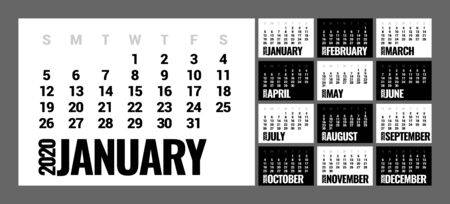 Calendar for 2020 year in minimal simple style. Week Starts on Sunday. Set of 12 Months.