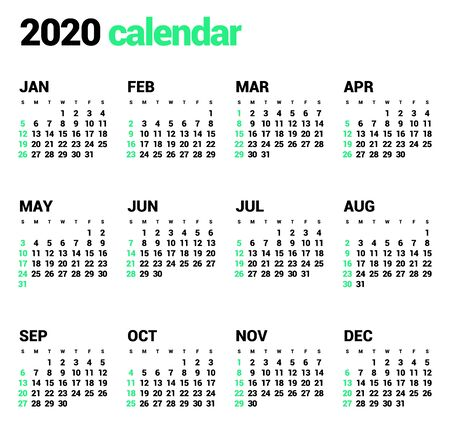 Calendar for 2020 year in clean minimal style. Week Starts on Sunday.
