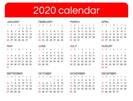 Calendar for 2020 new year in clean minimal table simple style. Week Starts on Sunday.