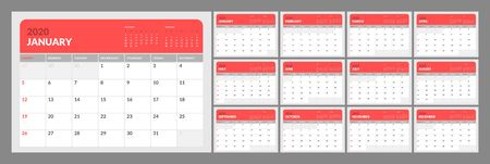 Wall calendar for 2020 year in clean minimal style. Week Starts on Sunday. Set of 12 Months. Illusztráció